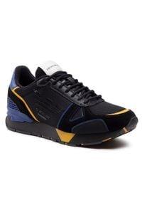 Emporio Armani - Sneakersy EMPORIO ARMANI - X4X289 XM499 Q041 Blk/Mais/Blk/Bluette. Okazja: na co dzień. Kolor: czarny. Materiał: skóra ekologiczna, materiał, zamsz. Szerokość cholewki: normalna. Styl: casual