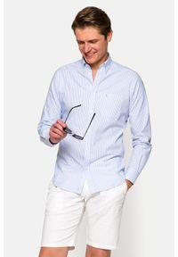 Lancerto - Koszula w Błękitny Prążek Amadea. Typ kołnierza: button down. Kolor: niebieski. Materiał: bawełna, tkanina, jeans. Wzór: prążki. Styl: sportowy