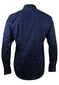 Niebieska elegancka koszula Bello z długim rękawem, na spotkanie biznesowe, długa