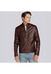 Wittchen - Męska kurtka z pikowaniem ocieplana. Kolor: brązowy. Materiał: skóra ekologiczna. Sezon: lato