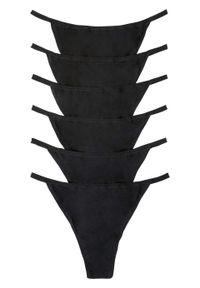 """Stringi """"tanga"""" (6 par) bonprix czarny. Kolor: czarny. Materiał: bawełna"""