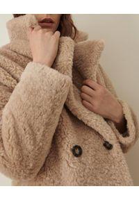 Marella - MARELLA - Beżowy płaszcz oversize Trama. Kolor: beżowy. Materiał: materiał. Długość rękawa: długi rękaw. Długość: do kolan. Wzór: aplikacja