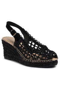 Czarne sandały Toni Pons na średnim obcasie, na co dzień, casualowe, na obcasie
