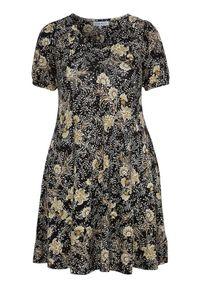 Zhenzi Wzorzysta sukienka z dżerseju Esna Czarny Sand female czarny/beżowy/żółty 58/60 (XXL). Kolor: żółty, czarny, wielokolorowy, beżowy. Materiał: jersey. Długość rękawa: krótki rękaw