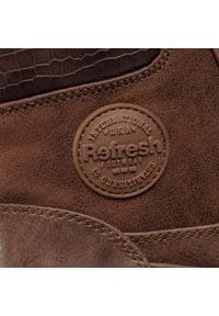 Refresh - Botki REFRESH - 72392 Taupe. Kolor: brązowy. Materiał: skóra ekologiczna, materiał. Szerokość cholewki: normalna. Obcas: na obcasie. Wysokość obcasa: średni