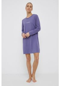 Calvin Klein Underwear - Koszula nocna. Kolor: fioletowy. Materiał: dzianina. Długość: długie. Wzór: nadruk