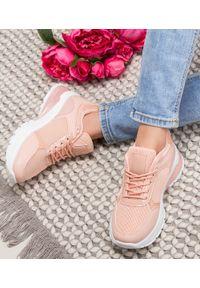 Różowe buty sportowe N/M trekkingowe, w kolorowe wzory