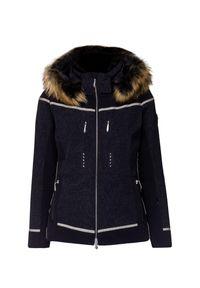 Czarna kurtka narciarska Descente z nadrukiem, na zimę