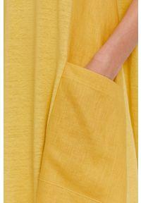 MAX&Co. - Sukienka. Okazja: na co dzień. Kolor: żółty. Materiał: dzianina, tkanina. Długość rękawa: na ramiączkach. Wzór: gładki. Typ sukienki: proste. Styl: casual