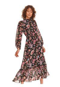 TOP SECRET - Długa sukienka tkaninowa. Kolor: czarny. Materiał: tkanina. Typ sukienki: koszulowe. Długość: maxi