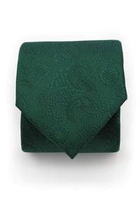 Adam Collection - Zielony krawat męski w delikatny wzór - paisley D295. Kolor: zielony. Materiał: tkanina, mikrofibra. Wzór: paisley