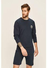 Niebieska bluza nierozpinana Diesel na co dzień, z nadrukiem, z okrągłym kołnierzem