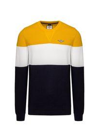 Aeronautica Militare - Sweter AERONAUTICA MILITARE. Kolor: żółty. Materiał: bawełna, prążkowany, dzianina. Wzór: ze splotem