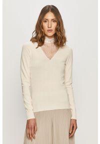 Kremowy sweter Vila casualowy, na co dzień, długi