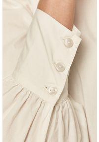 Vero Moda - Koszula bawełniana. Okazja: na co dzień. Typ kołnierza: kołnierzyk stójkowy. Kolor: biały. Materiał: bawełna. Styl: casual