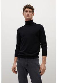Czarny sweter Mango Man z długim rękawem, casualowy, na co dzień, długi