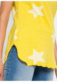 T-shirt w gwiazdy bonprix żółty kukurydziany - biały. Kolor: żółty