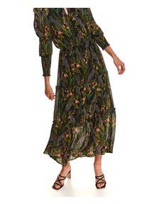 TOP SECRET - Sukienka maxi z gumkami w rękawach. Typ kołnierza: kołnierzyk stójkowy. Kolor: czarny. Materiał: dzianina. Sezon: jesień. Styl: elegancki. Długość: maxi