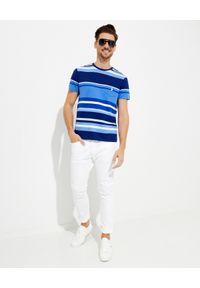 Ralph Lauren - RALPH LAUREN - Niebieski t-shirt w paski Custom Fit. Okazja: na co dzień. Typ kołnierza: polo. Kolor: niebieski. Materiał: bawełna. Wzór: paski. Styl: casual
