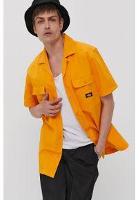 Dickies - Koszula bawełniana. Okazja: na co dzień. Kolor: żółty. Materiał: bawełna. Długość rękawa: krótki rękaw. Długość: krótkie. Wzór: gładki. Styl: casual