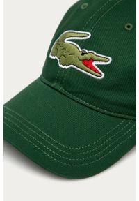 Zielona czapka z daszkiem Lacoste z aplikacjami