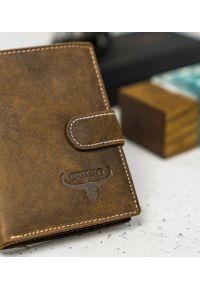 BUFFALO WILD - Skórzany portfel męski j. brązowy Buffalo Wild RM-03L-HBW TAN. Kolor: brązowy. Materiał: skóra