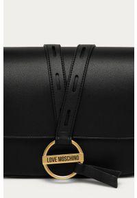 Czarna listonoszka Love Moschino skórzana, mała, na ramię, gładkie