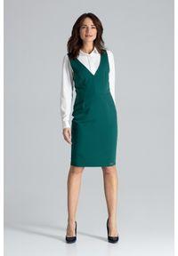 Lenitif - Ołówkowa sukienka midi bez rękawów sarafan zielona. Okazja: na spotkanie biznesowe. Kolor: zielony. Długość rękawa: bez rękawów. Typ sukienki: ołówkowe. Styl: biznesowy, elegancki. Długość: midi