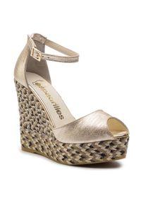 Złote sandały Espadrilles na co dzień, casualowe