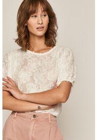 Biała bluzka medicine casualowa, gładkie, z krótkim rękawem