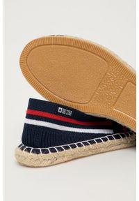 Big-Star - Big Star - Espadryle. Nosek buta: okrągły. Kolor: niebieski. Materiał: materiał. Wzór: gładki. Obcas: na obcasie. Wysokość obcasa: niski