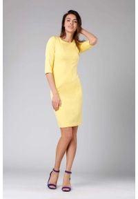 Nommo - Żółta Klasyczna Ołówkowa Sukienka z Rękawem za Łokcie. Kolor: żółty. Materiał: wiskoza, poliester. Typ sukienki: ołówkowe. Styl: klasyczny