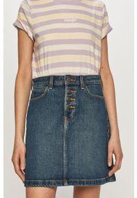 Lee - Spódnica jeansowa. Okazja: na co dzień. Stan: podwyższony. Kolor: niebieski. Materiał: jeans. Styl: casual