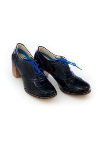 Zapato - sznurowane półbuty na 6 cm słupku - skóra naturalna - model 251 - kolor niebieski naplak. Kolor: niebieski. Materiał: skóra. Obcas: na słupku