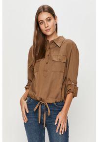 Brązowa bluzka DKNY z aplikacjami, casualowa, długa, na co dzień