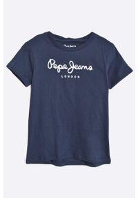 Niebieski t-shirt Pepe Jeans z nadrukiem, casualowy, na co dzień