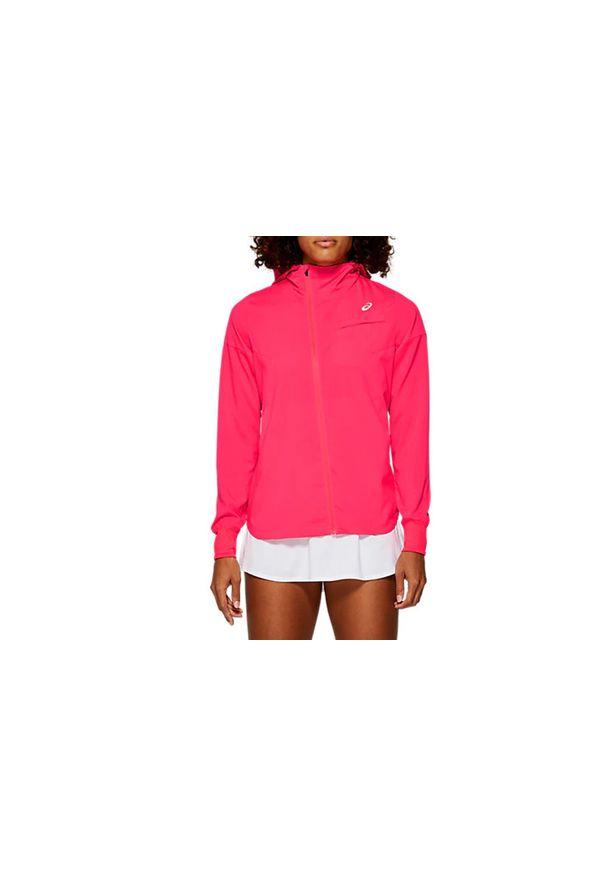 Różowa kurtka Asics w kolorowe wzory