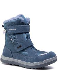 Niebieskie śniegowce Primigi z cholewką, z aplikacjami