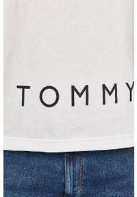 Biała koszulka z długim rękawem TOMMY HILFIGER z nadrukiem, na co dzień, casualowa