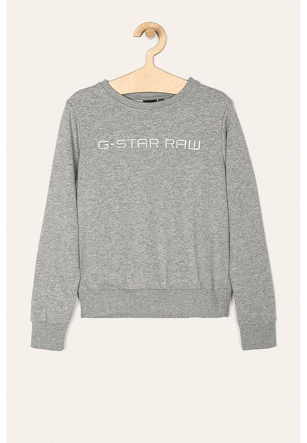 Szara bluza G-Star RAW na co dzień, z aplikacjami, z okrągłym kołnierzem