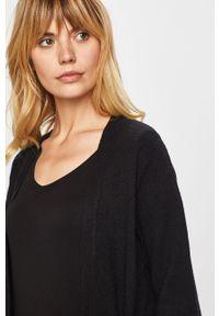 Czarny sweter rozpinany Vila na co dzień, długi