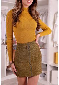 Żółta spódnica IVET z podwyższonym stanem, casualowa, na co dzień