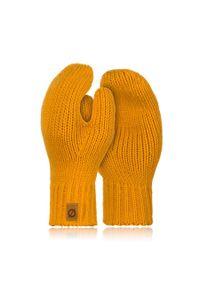 BRODRENE - Rękawiczki damskie zimowe r02 Brodrene R02 żółte. Kolor: pomarańczowy. Materiał: materiał. Sezon: zima