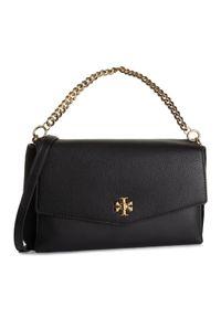 Czarna torebka klasyczna Tory Burch klasyczna, zamszowa