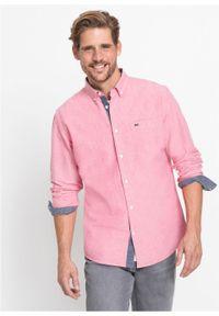 Różowa koszula bonprix z długim rękawem, długa, z haftami
