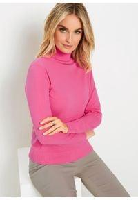 Sweter z golfem bonprix różowy. Typ kołnierza: golf. Kolor: różowy