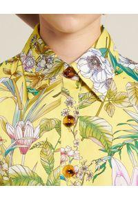 Luisa Spagnoli - LUISA SPAGNOLI - Sukienka mini z kwiatowym wzorem Petronilla. Typ kołnierza: kołnierzyk koszulowy. Kolor: żółty. Materiał: bawełna. Wzór: kwiaty. Sezon: lato. Typ sukienki: koszulowe. Styl: elegancki. Długość: mini