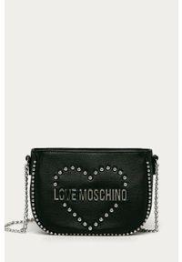 Czarna listonoszka Love Moschino mała, na ramię, z aplikacjami, z aplikacjami