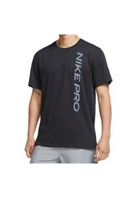 Koszulka męska treningowa Nike Pro CU4975. Materiał: nylon, poliester, skóra, materiał. Długość rękawa: krótki rękaw. Technologia: Dri-Fit (Nike). Długość: krótkie. Sport: fitness