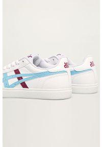 Białe buty sportowe Asics Tiger z cholewką, na sznurówki, na obcasie, z okrągłym noskiem